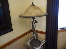 Cast Iron Table Lamp 30 In. High Amber Glass Shade Free Shipping