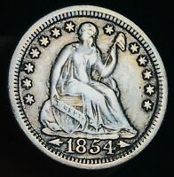1854 Seated Liberty Half Dime 5C Arrows High Grade Choice US Silver Coin CC6433