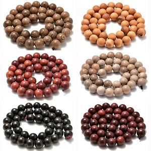 """6mm 8mm 10mm Natural Wood Beads Round Polygons Spacer 15"""" Strand"""