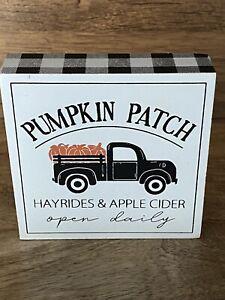 Wood Farmhouse Fall PUMPKIN PATCH Mini Sign - Tiered Tray Decor - Vintage Truck