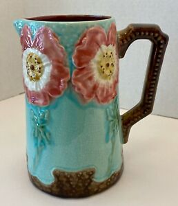 Vintage Majolica Faience D'Art Hand Painted Flower Pitcher 1930's