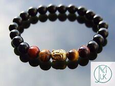 Buddha Tigers Eye/Onyx Natural Gemstone Bracelet 7-8'' Elasticated Healing Stone