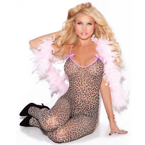 Leopard Print Bodystocking Crotchless Pink Satin Bows Sleeveless Animal 8549