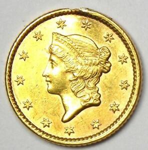 1852 Liberty Gold Dollar Coin G$1 - Choice AU / UNC MS Detail - Rare Coin!