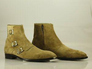 Handmade Men's Beige Suede Triple Monk Strap & Side Zipper Boots, Men Ankle Boot