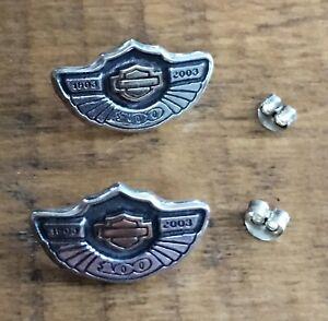 Harley Davidson 100th Anniversary MOD Sterling Silver / 10K Gold Earrings