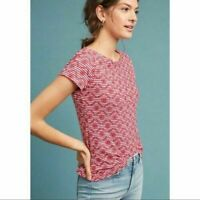 ANTHROPOLOGIE NWT $68 Postmark Red Striped Eyelet Embroidered Tee Top Size Small