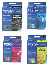 SET Brother Genuine LC-67BK LC-67C LC-67M LC-67Y For DCP 185C J715W MFC 490CW