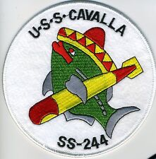 USS Cavalla SS 244 - Fish/Sombrero/Torp on white bkgnd BC Patch Cat No c5591