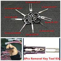 8Pcs Removel Key Tool Kits Car Electrical Terminal Wiring Crimp Connector Pin