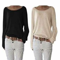 Blouse Loose Summer Ladies Women Tops Shirt Fashion Long Sleeve T-shirt Solid