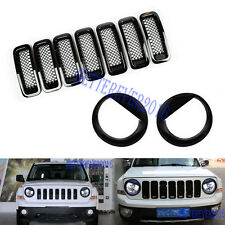 Front Grille Mesh Trimangry Bird Headlight Cover Black For Jeep Patriot 2011 17 Fits 2012 Jeep Patriot