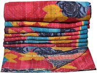 Vintage Kantha Quilt Indian Bedspread Blanket Hippie Beach Throw Bedding Throw