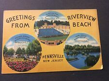 Greetings from Riverview Beach Postcard Pennsville, New Jersey Circa 1950