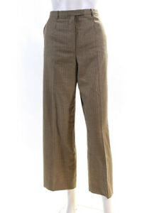 Hermes Womens Wool High Rise Wide Leg Pants Trousers Brown Size 38