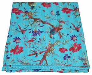 Indian Handmade Bird Print King Kantha Quilt Cotton Bedspreads Throw Blanket