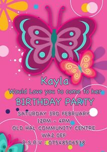 PERSONALISED BUTTERFLY INVITE CHILDRENS PINK BIRTHDAY PARTY INVITATIONS X8