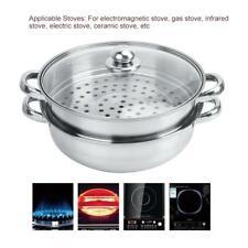 2Tier Stainless Steel Steamer Cooker Soup Pot Steam Pot Kitchen Cookware 28cm