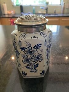 """Delft 5"""" Jar With Sterling Lid Made In Holland NR Gorgeous"""