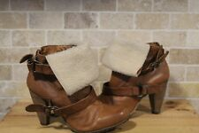 BROWN SOFT LEATHER MILITARY STYLE ANKLE BOOTS SIZE 7 BY NEXT GOOD WORN CONDITION