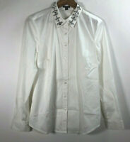 Ann Taylor Loft Women's Size 12 Ivory Long Sleeve Embellished Front Button Shirt