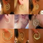 Earrings Boho Spiral Brass Gypsy Tribal Ethnic Festival Indian Hoops Jewellery