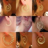 Earrings Boho Spiral Brass Gypsy Tribal Ethnic Festival Indian Hoops Jewellery