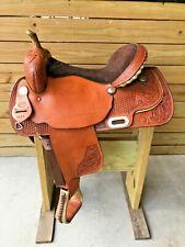 "Used 16"" Johnny Ruff Custom Barrel Trail Western Horse Saddle Made in USA"