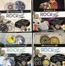 Set Of 4 Children's Craft Rock Painting Kit Fun Size Sets Of Each. Neon Mythical