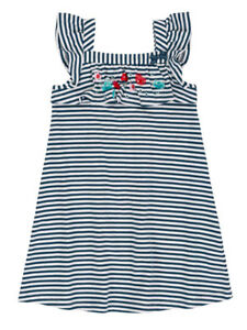 Deux Par Deux NWT Jersey Dress Navy Striped Sizes 4-12 High Style At Low Tide