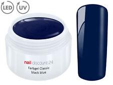 Color UV Gel LED FARBGEL BLACK BLUE French Modellage Nail Art Design Nagel Blau