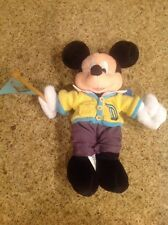 "New With Tag Disneyland 50th Retro Mickey 9"" Beanbag Plush With Foot Medallion"