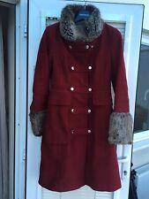 Karen Millen Red Wool Military Coat Size 8 - Worn
