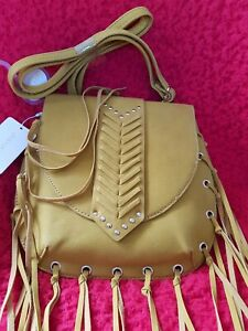 Ladies Primark Yellow/ Mustard Crossbody Bag with Tassels and Studs. BNWT.