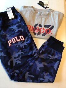 Polo Ralph Lauren Boy's Size L 14-16 Outfit Camo Jogger Sweatpants & T-Shirt
