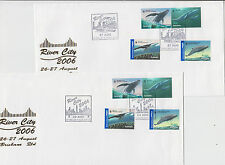 Stamps Australia 2006 whales set of 4 on River City Brisbane pair of covers