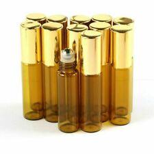 10Pcs 5ML glass roll on bottle amber empty Steel Metal Roller Ball Essential Oil