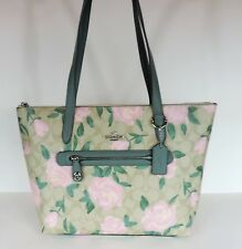New coach  Taylor tote Camo Rose Floral printed coated bag 31206 Khaki blush
