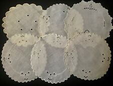 Six Remnant Salvage Antique Vintage Embroidery Goblet Doilies Different Patterns