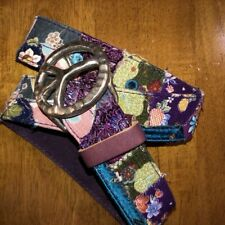 Lucky Brand Purple Patchwork Tapestry Belt Size 30 Peace Sign Buckle Leather