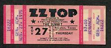 Original 1975 Zz Top Reo Speedwagon Unused Full Concert Ticket Houston Fandango