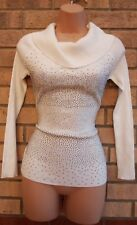 MOEWY WHITE KNIT KNITTED BEADED FRONT STRETCHY TIGHT FITTED JUMPER TOP BLOUSE 8