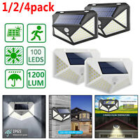 100LEDs Solar Luz Pared Sensor movimiento Impermeable Exterior Seguridad Lámpara