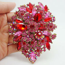 "3.94"" Fashion Dual Droplets Flower Brooch Pin Pendant Red Rhinestone Crystal"