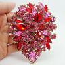 "3.94"" Fashion Dual Droplets Flower Brooch Pin Pendant Red Rhinestone Crystal"