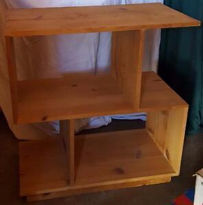 Wonderful Hand Made Solid Wood Shelf Unit - UNIQUE AND UNUSUAL SHAPE - RAW