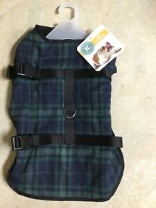 KENSINGTON KENNEL CLUB GREEN PLAID JACKET Fleece Lined Puppy/Dog LARGE