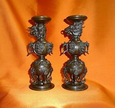 ANTIQUE JAPANESE MEIJI PERIOD BRONZE DRAGON PRICKET CANDLESTICK HOLDERS