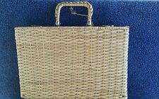 vTg LAQUERED STRAW Wicker Rattan Beach Bag BRIEFCASE Luggage Suit Case PURSE Key