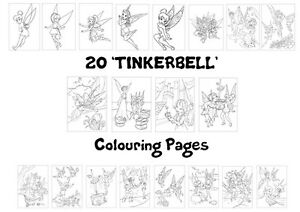 TINKERBELL Colouring Pages - 20 Sheets - Perfect for Rainy Day Craft!